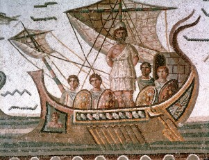 Odysseus (Ulysses) tied to the mast of his ship to save him from the Sirens. Homer Odyssey, epic Greek poem. Roman mosaic, 3rd